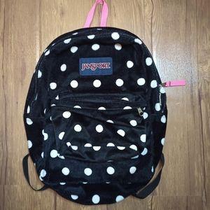 🍄 Jansport Backpack Black/White Polka dot